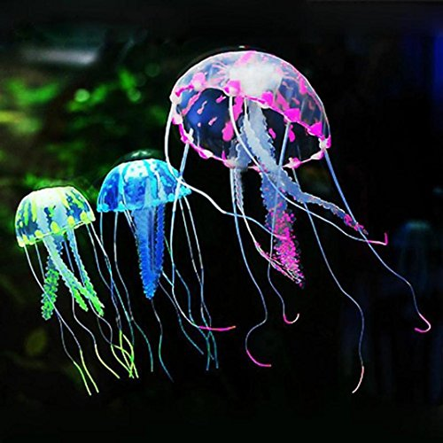 Vacally 6 Pc Aquarium Jellyfish Decoration Fish Tank Glowing Effect Fish Tank Artificial Ornament Mini For Home Decoration for Gift by Vacally Aquarium accessories