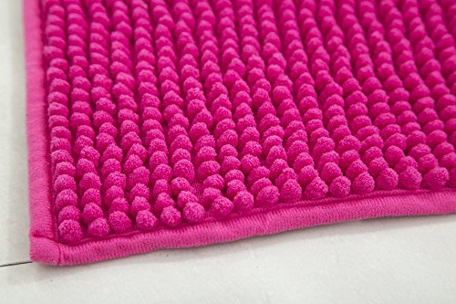 RT Designers Collection Kara Short Pile Chenille 2 Piece Bath Mat Set, 20'' x 32''/17'' x 24'', Fuschia by RT Designers Collection (Image #2)