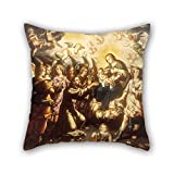 beautifulseason cushion covers of oil painting José Juárez - The Appearance of the Virgin and Child to Saint Francis,for bench,sofa,play room,bar,couples,drawing room 18 x 18 inches / 45 by 45 cm