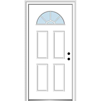National Door Company Z000284L Fiberglass Smooth Primed Clear Glass 34 x 80 Left Hand in-Swing Prehung Front Door Wagon Wheel 1//4 Lite 4-Panel