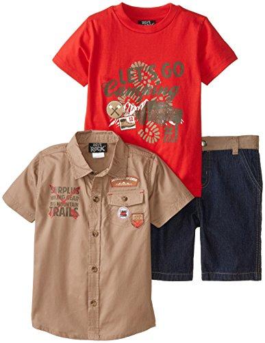 Boys Rock Little Boys' 3 Piece Woven Short Set Camping Pieced Denim Short