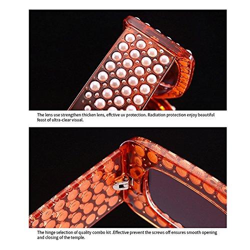 Completo Pequeña Perlas Vacaciones Peggy Cuadrada Forma Gu Protección para UV Marco Verano Cristal Color para Playa de Sol Gafas C5 Conducir de de C6 Mujer UIq8w8Fprt