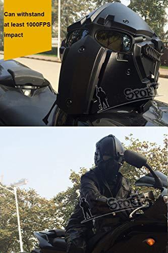 QZY Fast Tactical Casque Full Face Protectrice avec Visière Lunettes, pour La Chasse De Paintball Airsoft Moto Militaire… 2