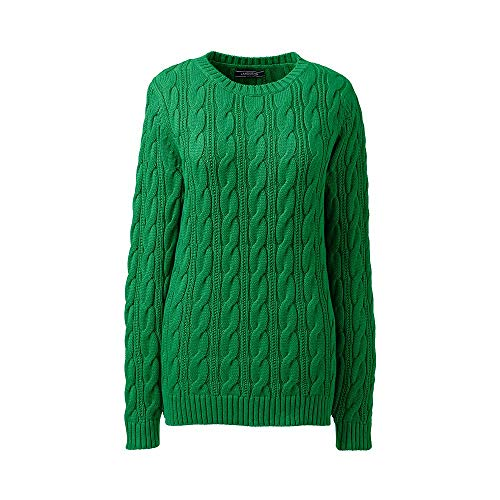 Lands' End Women's Plus Size Drifter Cotton Cable Knit Sweater Crewneck, 1X, Vibrant Clover (Classic Cotton Cable Knit Sweater)