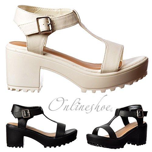 c1d8fddd5 Onlineshoe Womens T Bar Low Block Heel Cleated Sole Summer Sandals - Black