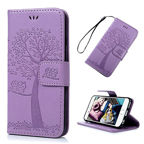 Price comparison product image iPhone 6 Case,  YOKIRIN Premium Emboss Owl Tree Magnetic Folio Flip Stand PU Leather Wallet Case TPU Inner Wrist Strap Full Protective Cover Skin with ID Credit Card Pockets for iPhone 6 6S,  Purple
