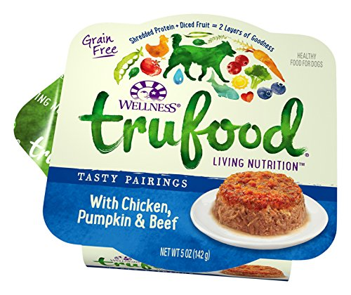 - Wellness TruFood Tasty Pairings Natural Grain Free Wet Raw Dog Food, Chicken, Pumpkin & Beef, 5-Ounce Cup (Pack of 24)