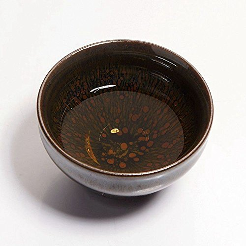 Yan Hou Tang - Earth JianZhan Tenmoku Tea Cup Bowl Cappuccinos 5 Elements Chinese FengShui Crafts Designer Collection Ceremony Ancient Style Handwork Handcrafted Oil Spot Sheaf Mouth Vitrified Surface by Yan Hou Tang (Image #3)