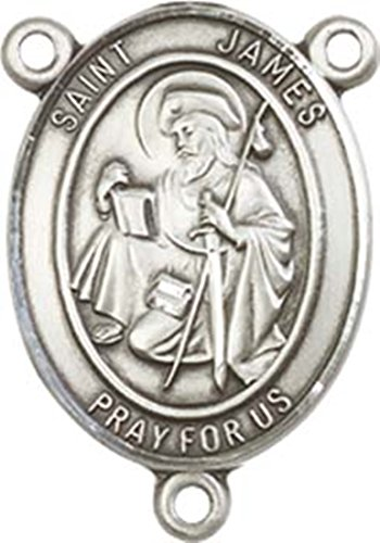 Sterling Silver Saint James the Greater Rosary Centerpiece Medal, 3/4 ()
