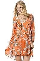Miss Me MDD223L Neon Orange Printed Open Back Dress