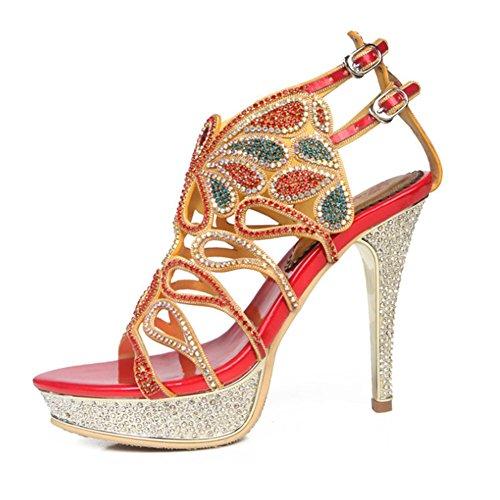 Pour Talons 10 D'été Mariage Aiguille Chaussures Sandales Taille Femme Bal À Romain Strass Haut Grand Lanières Talon Red De wBdq8Wp