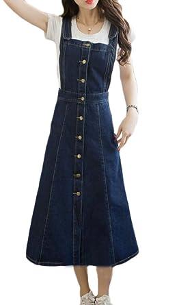 JXG Women Button Up Adjustable Denim Suspender Skirt Jeans Overall Dress  Blue US XS 6bc105338