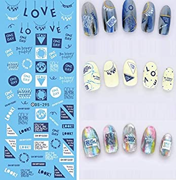 Amazon.com: Stickers & Decals - DS282 Water Transfer Foils Nail Art ...