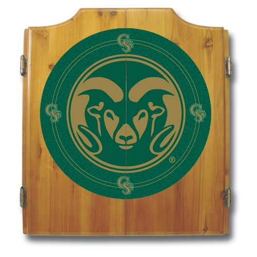 NCAA Colorado State University Wood Dart Cabinet Set