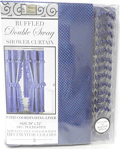 Double Swag Fabric Shower Curtain with Vinyl Liner and 12 Roller Shower Rings (Cobalt Blue)
