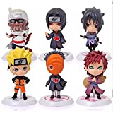 Shalleen Cartoon Uchiha Sasuke PVC Doll Naruto Stand New Figure Anime Gaara 6 Pcs Uzumaki