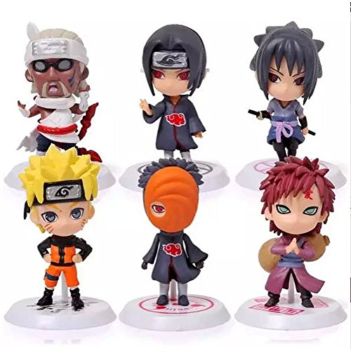 Shalleen Cartoon Uchiha Sasuke PVC Doll Naruto Stand New Figure Anime Gaara 6 Pcs Uzumaki