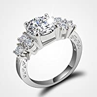 Meenanoom 5.80/ct Lab diamond White Sapphire Wedding Ring 10KT White Gold Jewelry Size6-10 (7)
