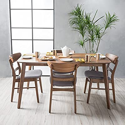 """Christopher Knight Home Helen Mid Century Fabric & Wood Finish 5 Piece Dining Set (Walnut/Dark Grey) - Includes: One (1) Table and Four (4) Chairs Table Dimensions: 35.43""""D x 59.06""""W x 29.53""""H 
