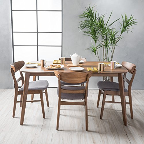 51OHbK9pE4L - Helen Mid Century Fabric & Wood Finish 5 Piece Dining Set