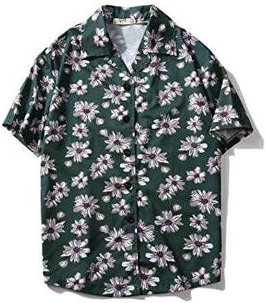 メンズ シャツ アロハシャツ プルオーバー パイナップル 柄 プリント 薄手 ユニセックス ゆったり シンプル ラペル 半袖 サーフ系 おしゃれ 夏服 ビーチ リゾート 海 カジュアル