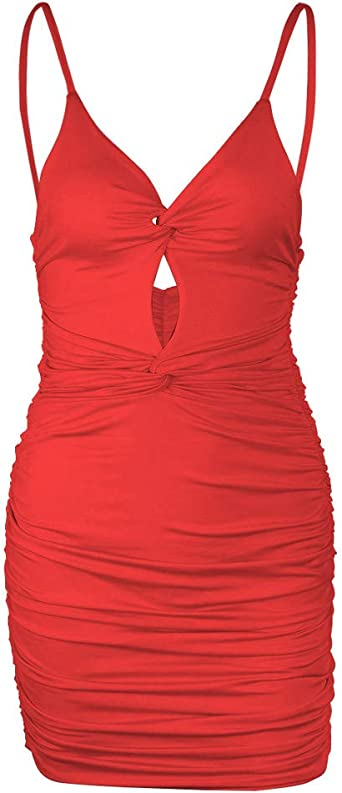 Dasongff Damska Ladies Cut Out Dress Kleid Criss Knot Minikleid Spaghetti Bügel Bodycon Kleid Trägerkleid Club-Kleid Sexy Hollow Out Sommerkleid Strandkleider: Odzież