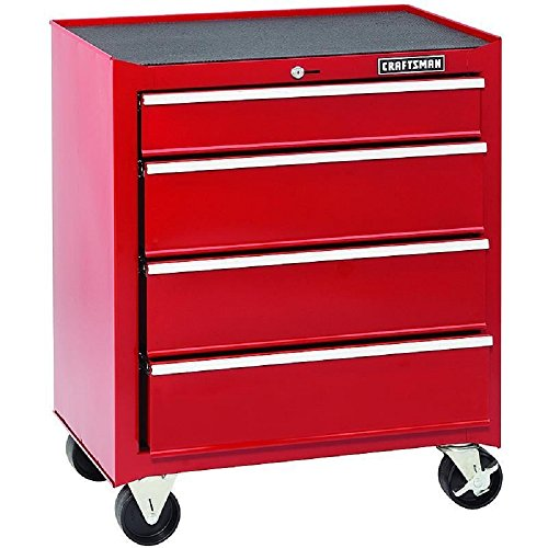 Craftsman Big 26 Inches Wide 4-drawer Standard Duty Ball Bearing Rolling Bottom Tool Chest Cabinet - Red Craftsman 3 Drawer Ball Bearing
