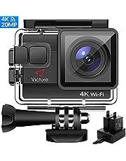 Victure AC800 Cámara Deportiva WiFi 4k Ultra HD 20MP Action Camera Acuatica de 40M con 2 Baterías y Cargador Externo, Funciones Anti-Shaking y Time Lapse