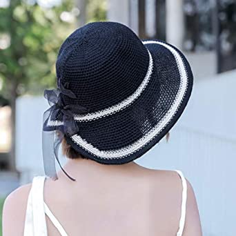 Everymony Summer Fashion Ladies Sun Hat Color Matching Perspective Bow tie Beach Casual Straw Sun Hat