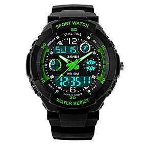 Misskt 30m Water-proof Boys Girls Sport Digital Led Watch with Alarm Stopwatch Children Watch green