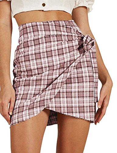 Haola Women's Summer Casual High Waist Plaid Mini Bodycon Skirt Red (Tan Plaid Skirt)