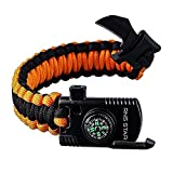 Paracord Survival Bracelet 500 LB - Hiking Gear Travelling Camping Gear Kit - Parachute Rope Bracelet,Compass Stone,Stainless Fire Scrapper,Flint Fire Starter,Survival Knife,Whistle (Orange-Reguler)
