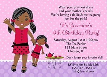 Amazon Com African American Girl Pink Birthday Party Invitations