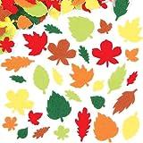 Pegatinas de fieltro en forma de hojas 6 diseños diferentes y formas de fieltro autoadhesivas de colores, adornos para álbumes de recorte y manualidades infantiles (pack de 144).