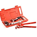 TOOGOO Brake Pipe Flaring Tool Kit Line Plumbing with Aluminum 3-in-1 180 Degree Tubing Bender Cutter