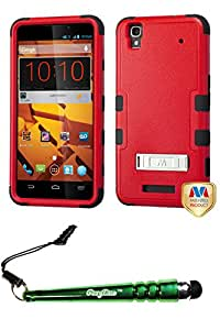 FoxyCase(TM) FREE stylus AND ZTE N9520 (Max) Natural Red Black TUFF Hybrid Phone Protector Cover (with Stand)