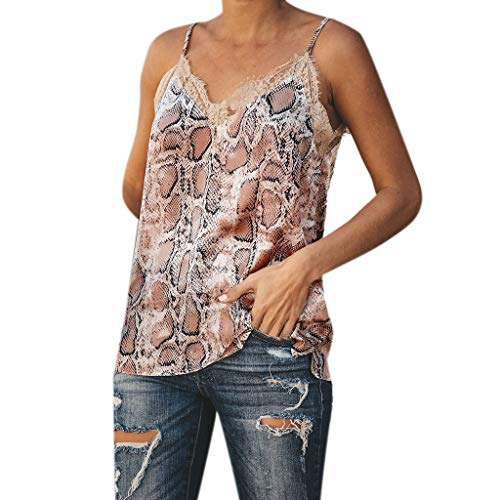 - NUWFOR Fashion Womens Ladies Summer Snack Print Vest Top Sleeveless Casual Lace Tank(Brown,L US (10-12))