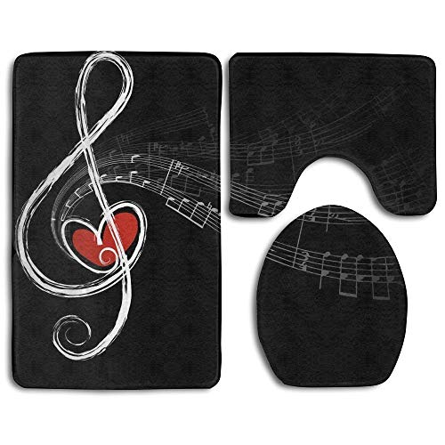 (Yosjdga Music Symbols Love Fashion Bathroom Rug Mats Set 3 Piece Anti-Skid Pads Bath Mat + Contour + Toilet Lid)