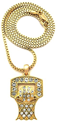 GWOOD Basketball Iced Out Small Pendant Gold Color with 24 Inch Box Link Necklace
