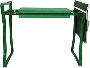 LRP Foldable Garden Kneeler and Seat, Foam Padded Pad Stool Steel Frame Tool with Handles Tools Bag for Outdoor Gardening Green