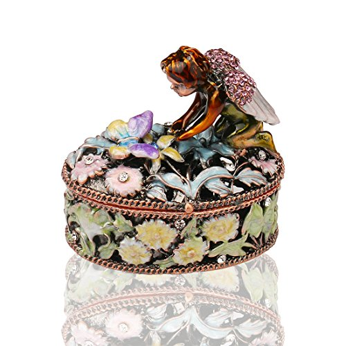 Angel Trinket Box Metal Enameled Flower Figurine Collectable Wedding Jewelry Ring Holder Organizer