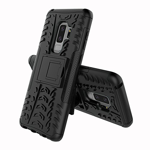 FOLICE Samsung Galaxy S9 Plus Case Tough Rugged Dual Layer Protective Case with Kickstand (Black)