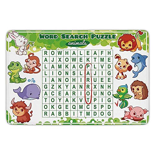 Lab Worksheets (K0k2t0 Bathroom Bath Rug Kitchen Floor Mat Carpet,Word Search Puzzle,Educational Game Kids Decorated Cute Animals Worksheet Print,Multicolor,Flannel Microfiber Non-Slip Soft Absorbent)