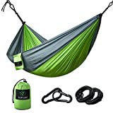 Hammocks - TOPQSC Camping Hammocks Ultra-light Portable Compact Nylon Hammock Perfect for Outdoor, Beach, Backyard, Hiking and Indoor Sleeping (Green)