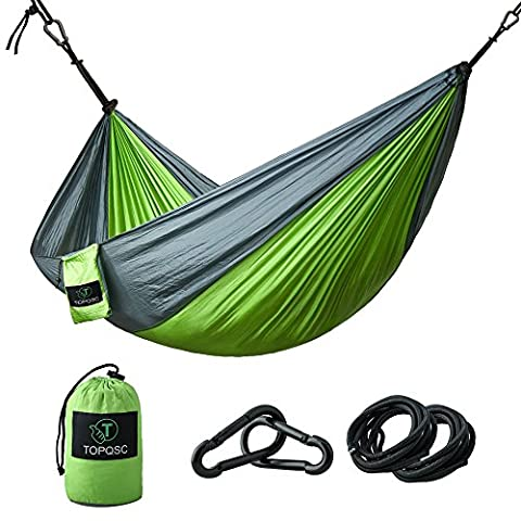 Camping Hammocks - TOPQSC Camping Hammocks Ultra-light Portable Compact Nylon Hammock Perfect for Outdoor, Beach, Backyard, Hiking and Indoor Sleeping (Green) - Blue Ridge Turchese