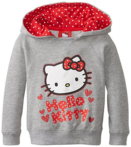 Hello Kitty Little Girls' Fleece Pullover Hood with Polka Dots, Heather Grey, 2T