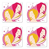Ambesonne Zodiac Gemini Coaster Set of Four, Two Women Twins Illustration on Pink Western Astrology Concept Feminine Art, Square Hardboard Gloss Coasters for Drinks, Multicolor