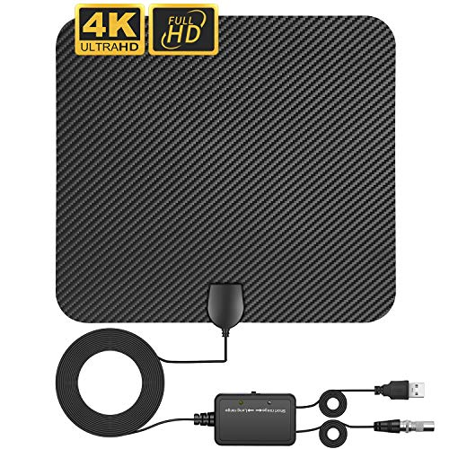 [Upgraded 2020] HDTV Digital Antenna, Professional Carbon Fiber Indoor TV Antenna, 80-120 Mile Range, Support 4K 1080P UHF VHF Freeview HDTV Channels with Coax Cable