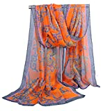 Alysee Women Chiffon Fabric Indian Style Print Long Scarf Shawl Wrap Color Orange