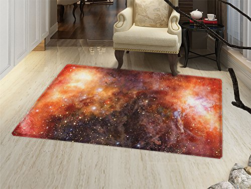 smallbeefly Outer Space Bath Mat non slip Nebula Gas Cloud in Deep Outer Space Galaxy Expanse Milky Way Print Customize door mats for home Mat Burnt Orange Black